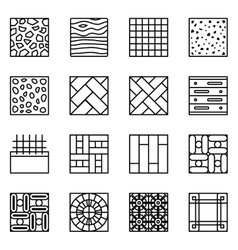Floor material line icons vector