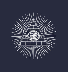 freemasonry pyramid all-seeing eye engraving vector image