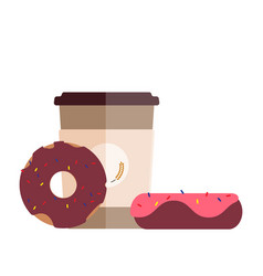 fresh coffee cup and delicious donuts flat design vector image