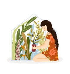 girl holding potted flower in hands floral vector image