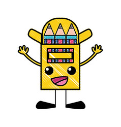 Grated happy colored pencil kawaii with arms and vector