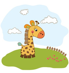 Greeting card with giraffe toy vector