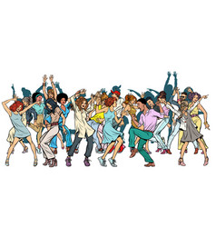 group dancing youth isolate on a white vector image