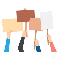 Hands holding protest banners vector