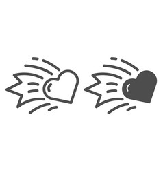 heart comet line and glyph icon falling star vector image