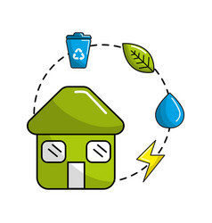 House with save energy water and recycle campaign vector