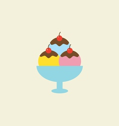 Ice Cream With Chocolate Syrup In A Bowl vector