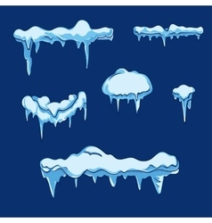 Ice sheet with icicle set in cartoon style vector image