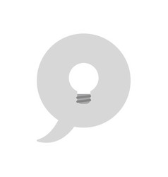 Icon concept of speech bubble with grey light bulb vector