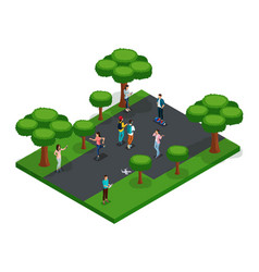 isometric 3d teenagers playing in the park vector image