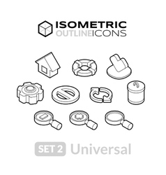 Isometric outline icons set 2 vector