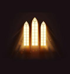 Light flows into church window vector