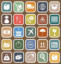 Logistics falt icons on brown background vector