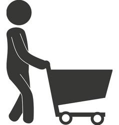 Man cart shopping icon vector