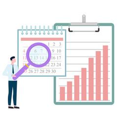Man investigating calendar magnifying glass graph vector