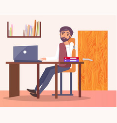 man office workplace typing on computer bookshelf vector image