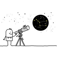 Man watching the stars with telescope vector