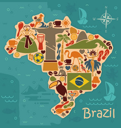 Map from traditional symbols of brazil vector