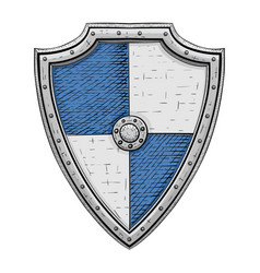 Medieval shield gray and blue armor hand drawn vector