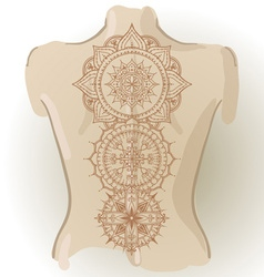 Mehndy flowers tattoo template on her back vector image