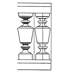 modern baluster turned vintage engraving vector image