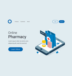 Modern online pharmacy and drugstore concept vector