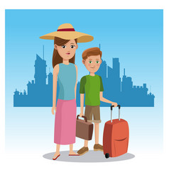 Mother and son tourist baggage hat traveler urban vector