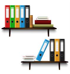 Office shelves with books and binders template vector