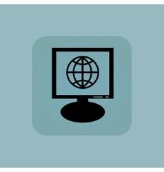 Pale blue globe monitor icon vector