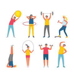 people pumping muscles sport or fitness vector image