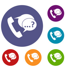 Phone sign and support speech bubbles icons set vector