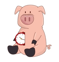pig with watch character vector image
