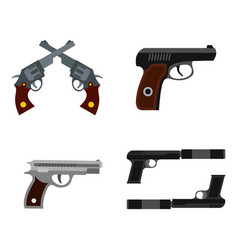 pistol icon set flat style vector image