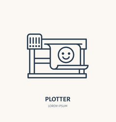 Plotter printer with printed paper flat line icon vector