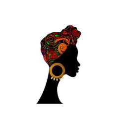 Portrait afro woman shenbolen ankara head wrap vector