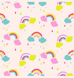 Rainbow and clouds cute baby seamless vector