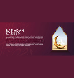 Ramadan design with realistic golden crescent vector