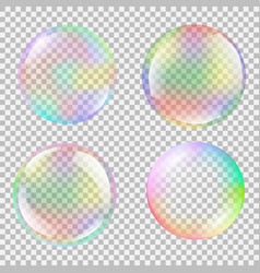 realistic soap bubble set with rainbow reflection vector image