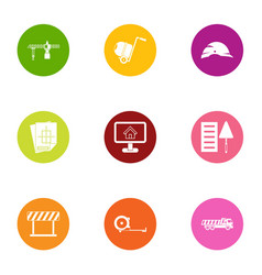 Reconstruction icons set flat style vector