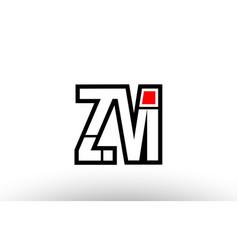 Red and black alphabet letter zm z m logo vector