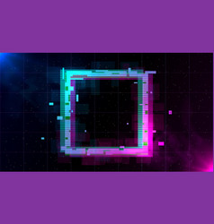 retrowave glitch square with sparkling and blue vector image