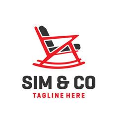 Rocking chair furniture logo vector