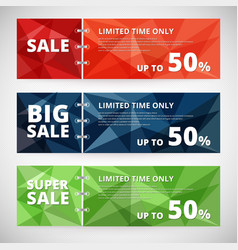Sale discount banners set with polygonal abstract vector