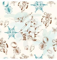 Sea vintage seamless pattern vector image