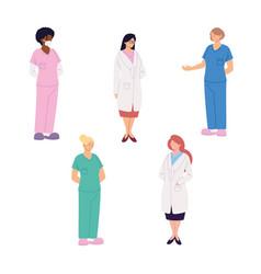 Set healthcare workers doctors and nurses vector