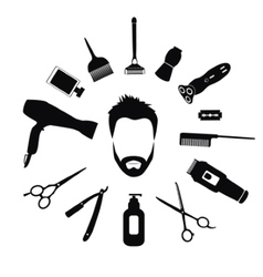 Set of Barber tools for men vector