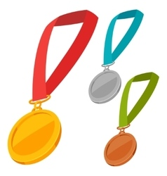 Set of three champion medals award with ribbon vector