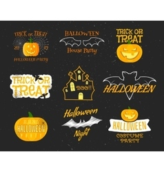 set of vintage happy halloween badges labels vector image