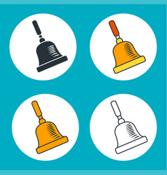 Set outline icons vintage school bell vector