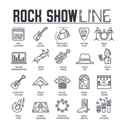 Set rock show musical instruments thin line vector